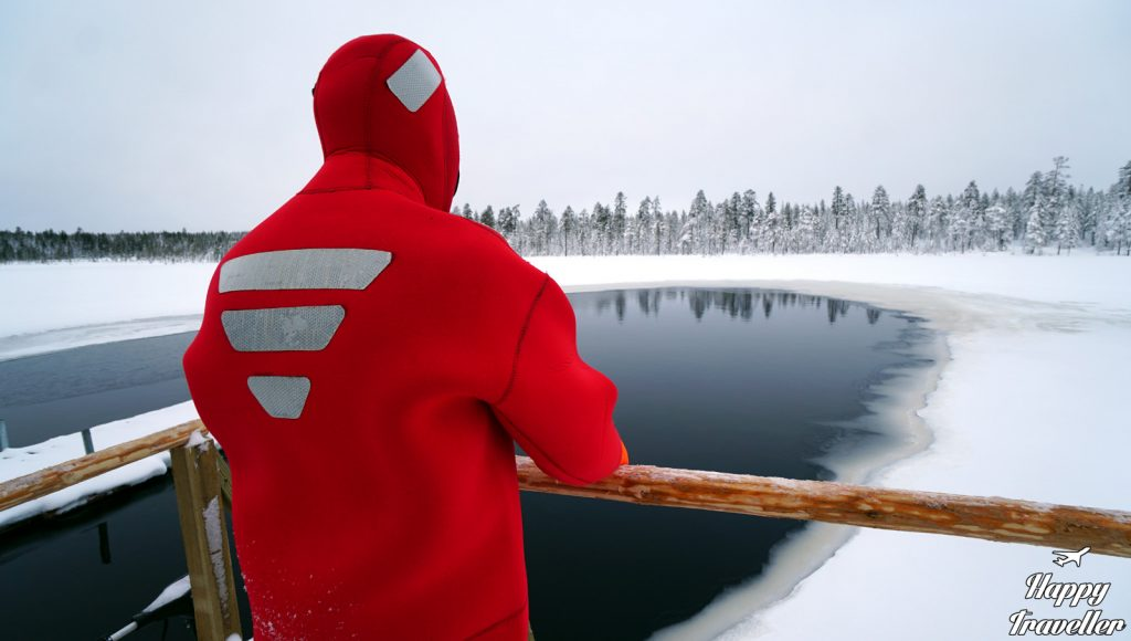 floating lake lapland finland happy traveller