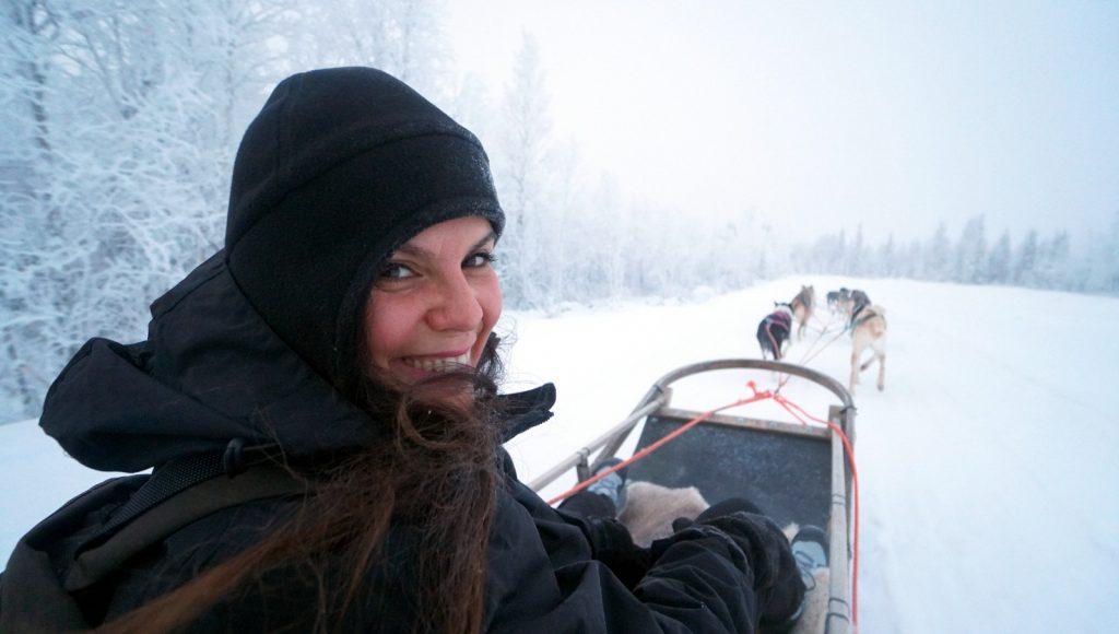 husky ride lapland finland happy traveller